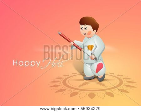 Indian color festival Holi concept with cute little kid playing colors with pichkari on floral decorated background.