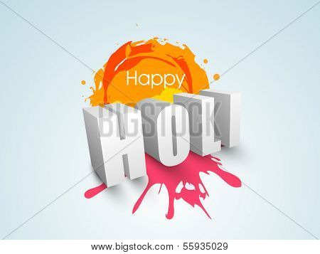 Indian color festival Holi celebration concept with stylish 3D text Holi on grungy colours splash background.