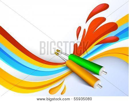 Indian color festival Holi background with pichkari (colour gun) and colour splash.