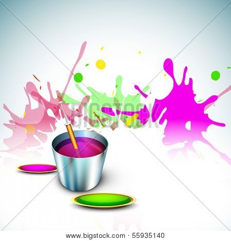 Indian festival Happy Holi celebration concept, bucket with full of colors, pichkari on colors splash background.