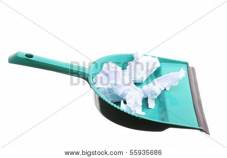 Cleaning. Green Dustpan With Garbage Papers, Housework
