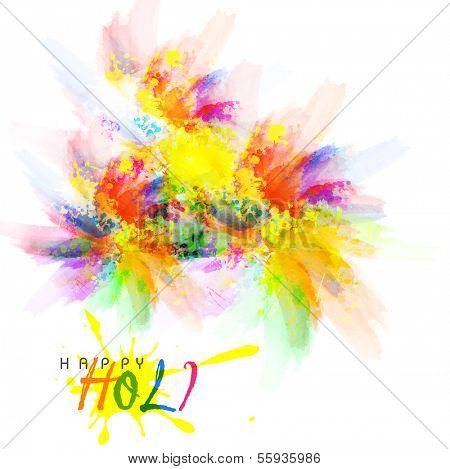 Beautiful Indian festival Happy Holi celebrations with colors splash.