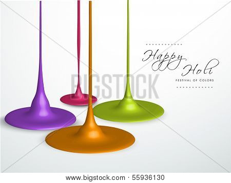 Stylish Indian color festival Holi celebration background with shiny paint colors on grey background.