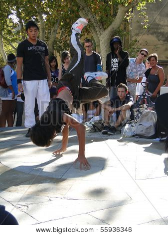 Hip-hop Breakdancers Compete In Pairs,