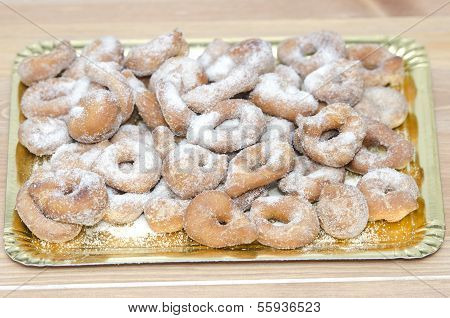 Tray With Sugary Doughnuts