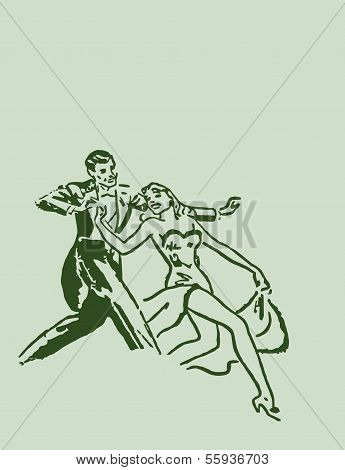 Dancing ballroom dance couple