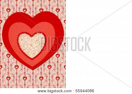 Tri-color Heart on Mini Heart Background