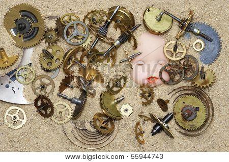 Clockwork Mechanism On The Sand