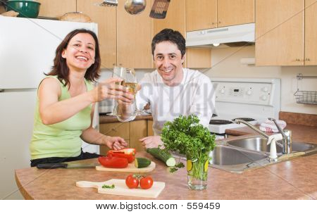 Couple In The Kitchen