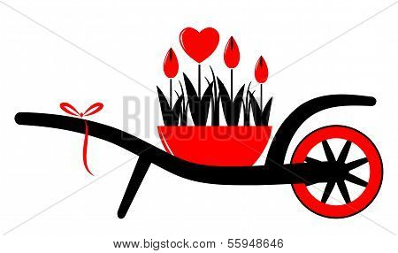 Wheel Barrow And Heart Flowers