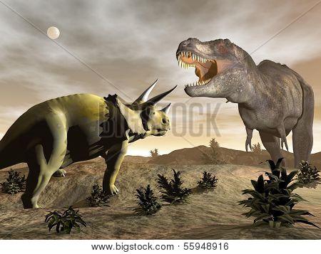 Tyrannosaurus brüllend auf Triceratops 3d render