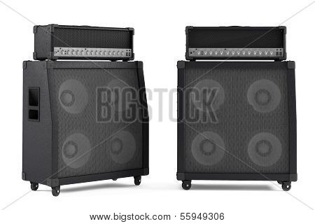 bass guitar amplifier isolated. Two points of view