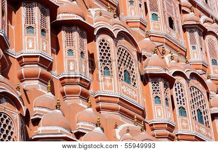 Closeup Of Hawa Mahal (palace Of Breeze) In Jaipur,rajasthan,india,unesco Heritage Site