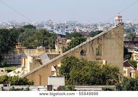 Jantar Mantar , Medieval Observatory In Jaipur, India.view Of  From Hawa Mahal Palace