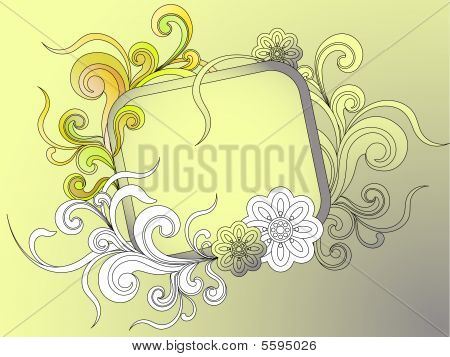 banner or frame for text with floral elements