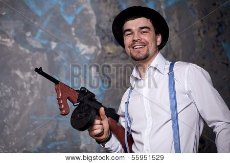 Brigand with the Thompson Sub machine Gun