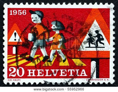 Postage Stamp Switzerland 1956 Children Crossing Street