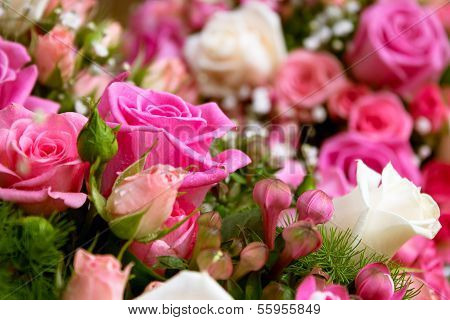 Pink Roses Weddind Arangement Background
