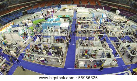 MOSCOW, RUSSIA - NOV 14, 2013: (view from unmanned quadrocopter) 15th International Exhibition ExpoClean in Olimpiysky sport complex.