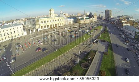 MOSCOW - NOV 09: (view from unmanned quadrocopter) Komsomolskaya Square, on Nov 09, 2013 in Moscow, Russia. Three railway stations Leningradsky, Yaroslavsky and Kazansky are on Komsomolskaya Square.