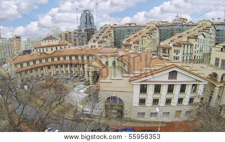 MOSCOW, RUSSIA - NOV 14, 2013: (view from unmanned quadrocopter) Residential complex Italian Quarter under construction. Complex Italian Quarter is 2 kilometers from Kremlin.