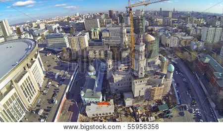 MOSCOW, RUSSIA - OCT 30, 2013: (view from unmanned quadrocopter) Construction of Moscow Cathedral Mosque near Olympiysky Sports Complex.