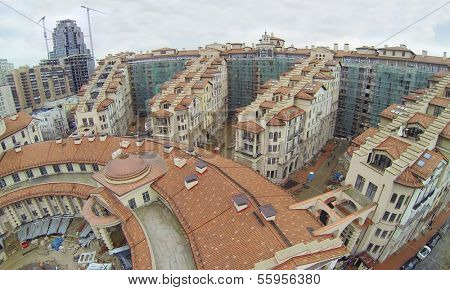 MOSCOW, RUSSIA - NOV 14, 2013: (view from unmanned quadrocopter) Part of Residential complex Italian Quarter under construction at cloudy day. Complex Italian Quarter is 2 kilometers from Kremlin.