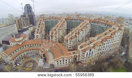 MOSCOW, RUSSIA - NOV 14, 2013: (view from unmanned quadrocopter) Residential complex Italian Quarter under construction at cloudy day. Complex Italian Quarter is 2 kilometers from Kremlin.
