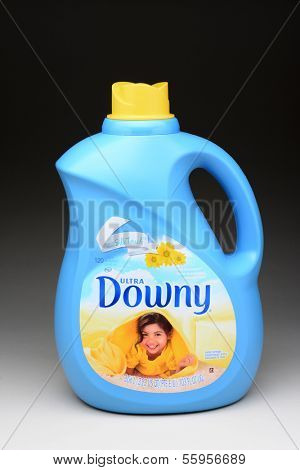IRVINE, CA - JANUARY 11, 2013: A 103 ounce bottle of Ultra Downey Fabric Softener. A product of Procter & Gamble was introduced in 1960.