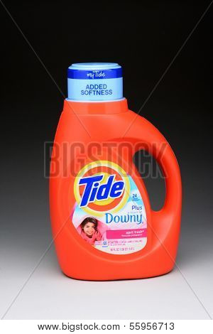 IRVINE, CA - JANUARY 11, 2013: A 50 ounce bottle of Tide Plus Downey Laundry Detergent. Tide has more than 30% of the liquid-detergent market, with more than twice the sales as the next brand.