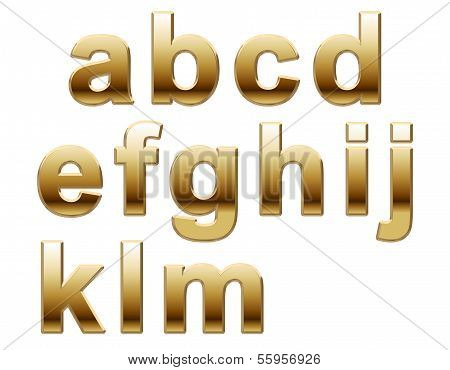 Shiny Gold Lowercase Letters