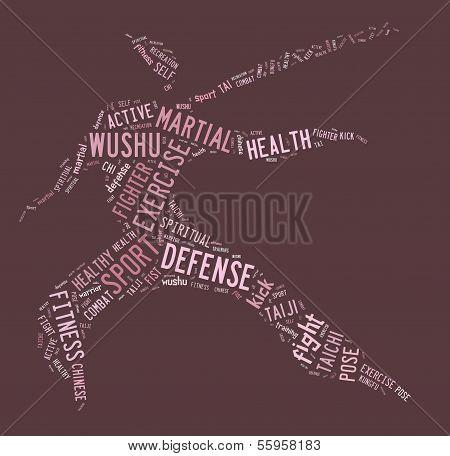 Wushu Word Cloud With Pink Wordings