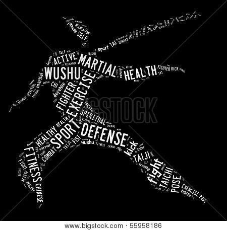 Wushu Word Cloud With White Wordings