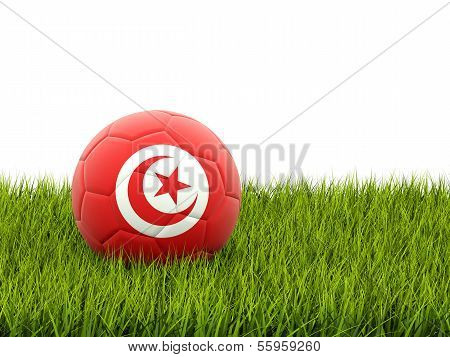 Football With Flag Of Tunisia