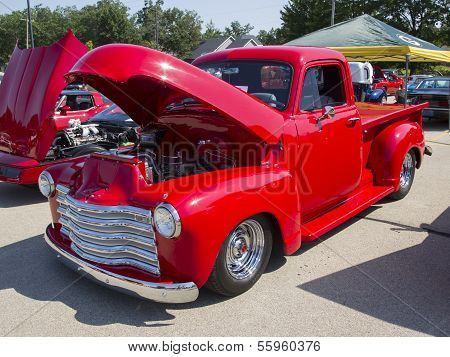 Red Chevy Antique Pick Up Truck Side View