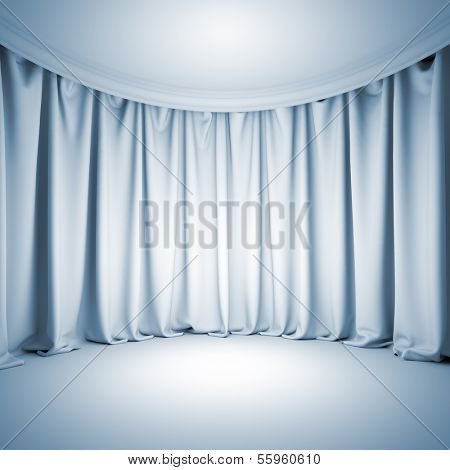 A 3d illustration blank template background of empty white theater stage with bright light at curtain and floor.