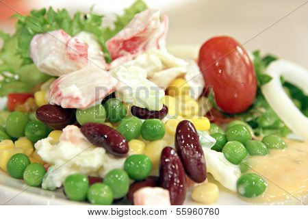 Tunny Salad With Mixed Vegetables.