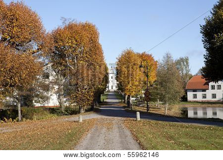 Main Street up to a church.