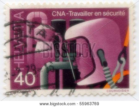 Stamp from Switzerland Safety at Work