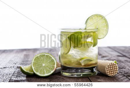 Table With Caipirinha On White