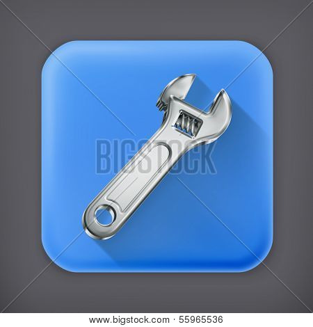 Adjustable wrench, long shadow vector icon