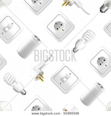 Electrical appliance, vector seamless pattern