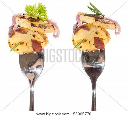 Fried Potatoes On A Fork