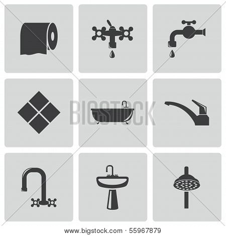 Vector black bathroom icons set