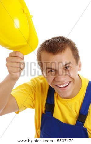 Happy Worker Take Off His Hard Hat