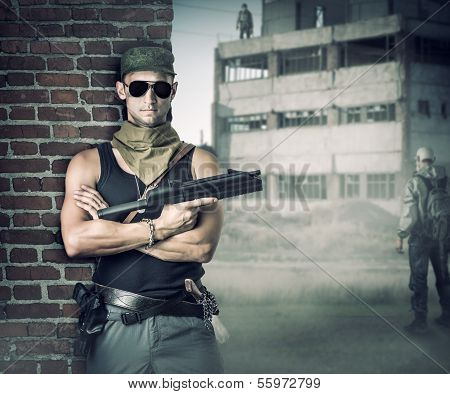 Military Man With Gun - Automatic