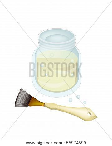Turpentine or Linseed Oil with Artist Brushes