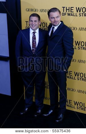 NEW YORK-DEC 17: Actor Leonardo DiCaprio (R) and Jonah Hill attend the premiere of
