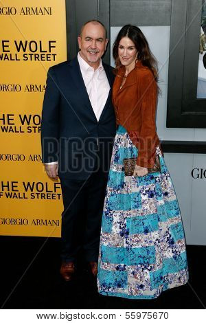 NEW YORK-DEC 17: Screenwriter Terence Winter and wife Rachel Winter attend the premiere of