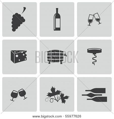 Vector black wine icons set
